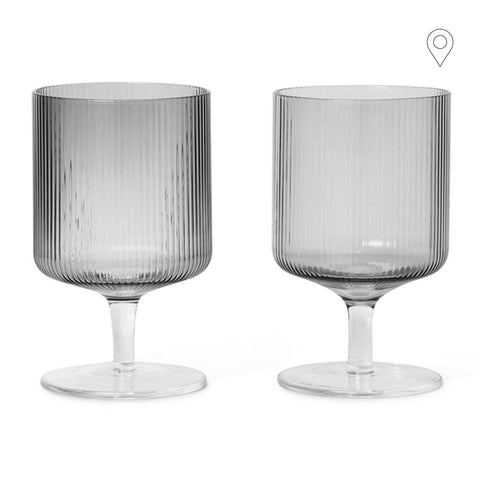 Wine / juice glass Ripple, smoked glass, double set