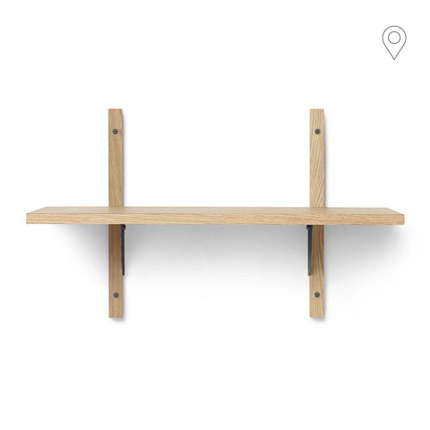 Shelf Sector 54cm, with one shelf and black brass supports, different wood finishes