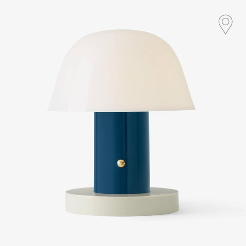 Wireless table lamp Setago JH27, gray-beige and dark blue