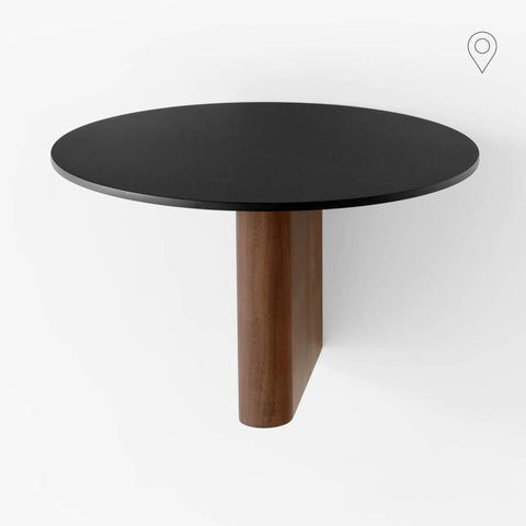 Side table / shelf Column JA1, Ø25cm, walnut & black aluminum
