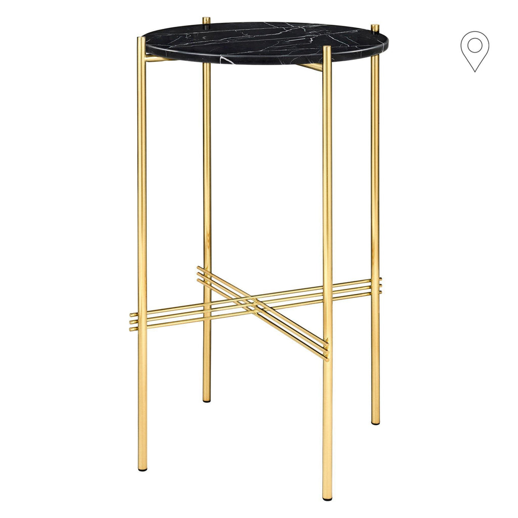 Side table TS, polished brass frame / various surface finishes, Ø40 - Nordic Design Home