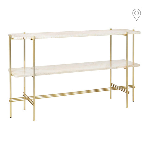 Console table TS with gold frame and two shelves, different shades of travertine
