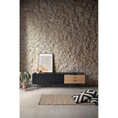 TV scale Sierra 180cm with wooden doors, matt black