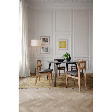 Dining chair C-Chair, French rattan wicker and upholstered seat / various fabrics and wood finishes