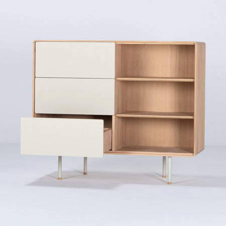 Chest of drawers with Fina drawers, beige, 118cm