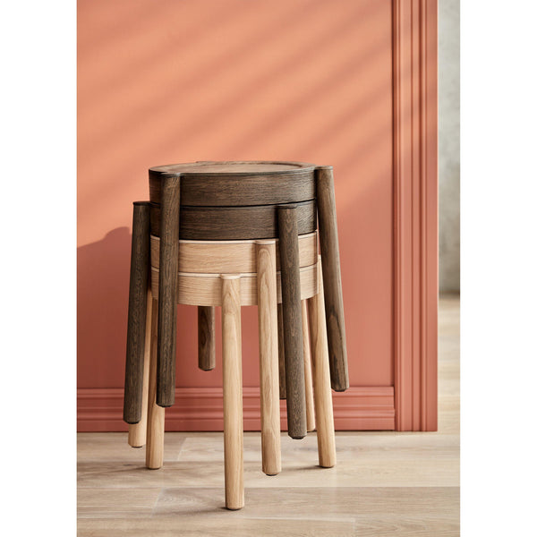Stool Pal, French rattan wicker / various wood finishes