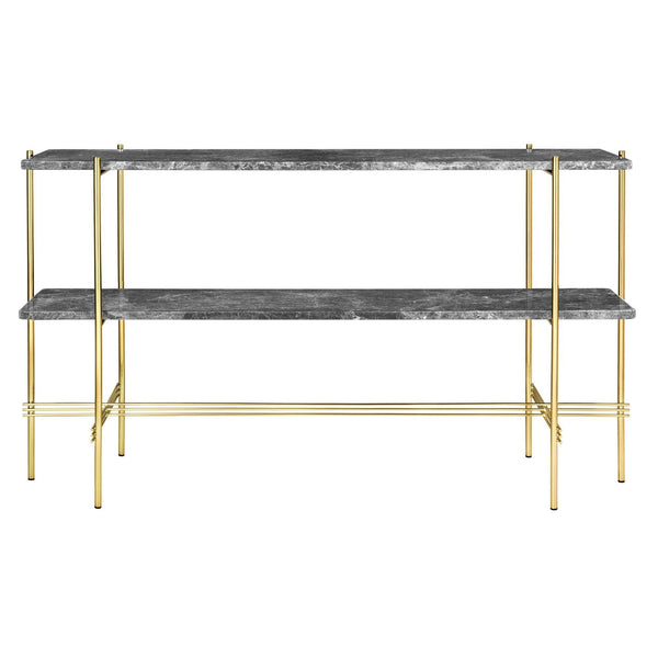 Console table TS, with two shelves, polished brass frame / different surface finishes