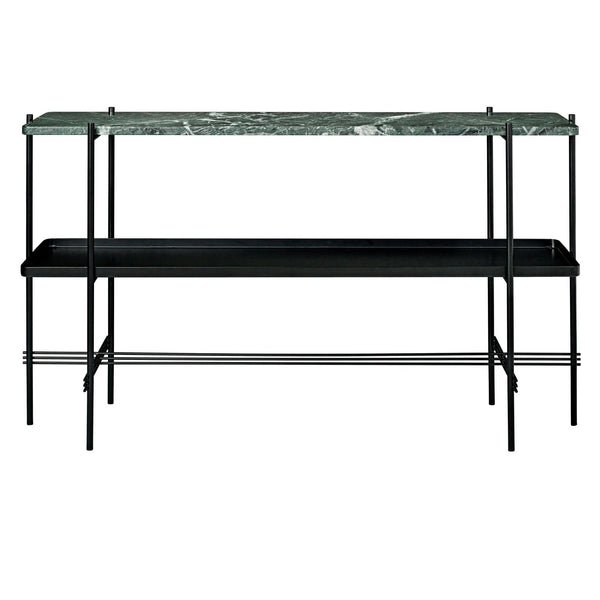 Console table TS, one shelf + one tray, black frame / different surface finishes
