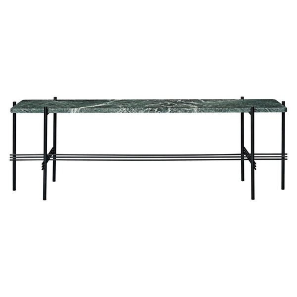 Console table TS, with one shelf, black frame / different surface finishes