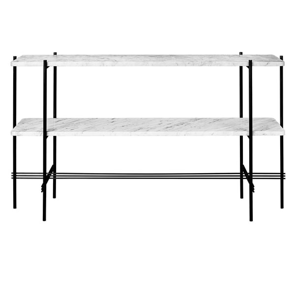 Console table TS, with two shelves, black frame / different surface finishes