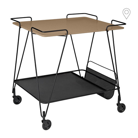 Drinking trolley Matégot, brownish-beige / black