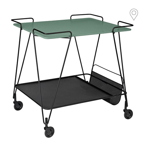 Drinking trolley Matégot, green / black