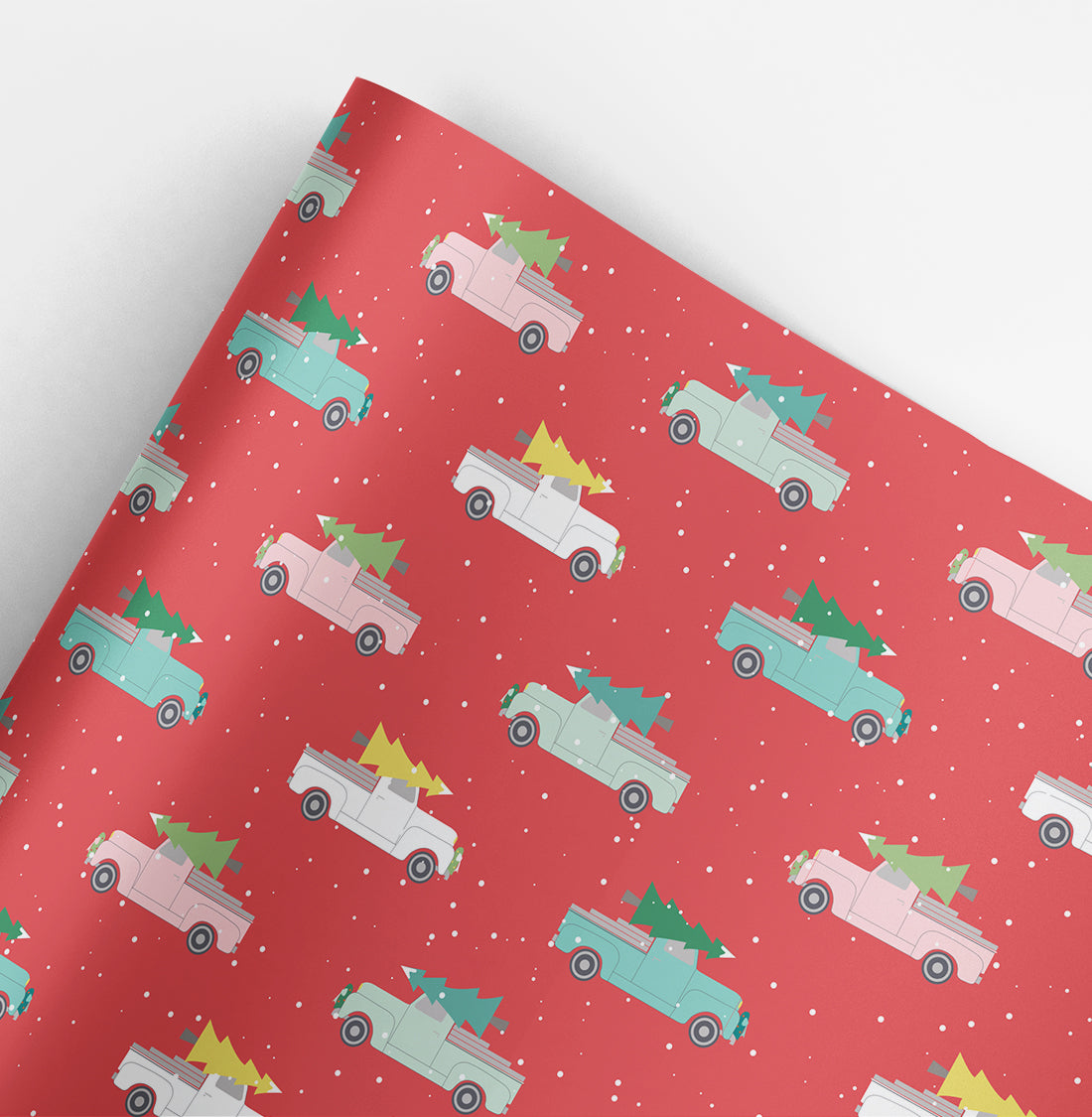 Holiday Trucks Christmas Gift Wrap Roll