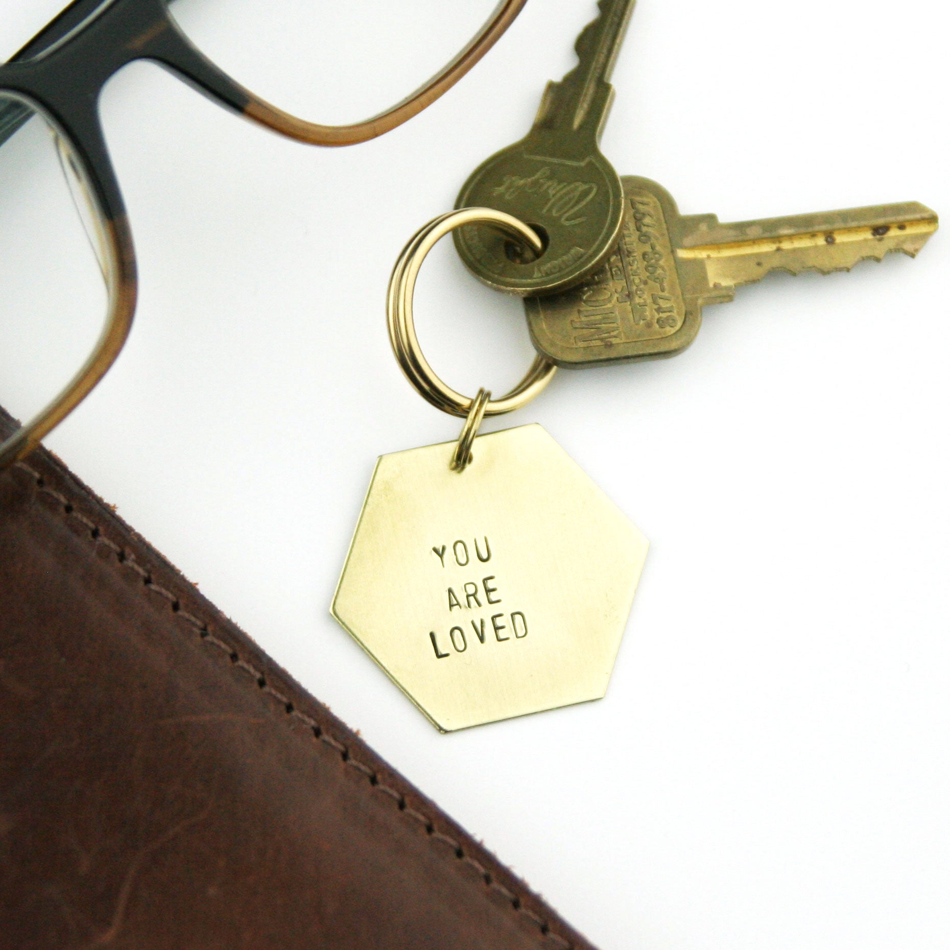 Peachtree Lane - You are Loved - Stamped Keychain