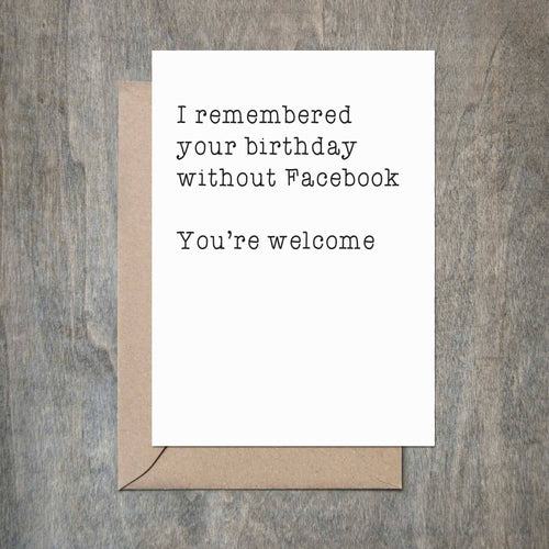 Crimson and Clover Studio - Remembered Birthday Without Facebook Birthday Card