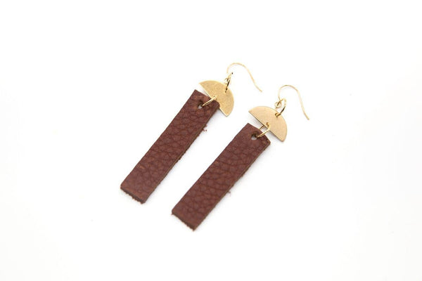 Margaret Vera - Leather Bar Half Moon Earrings