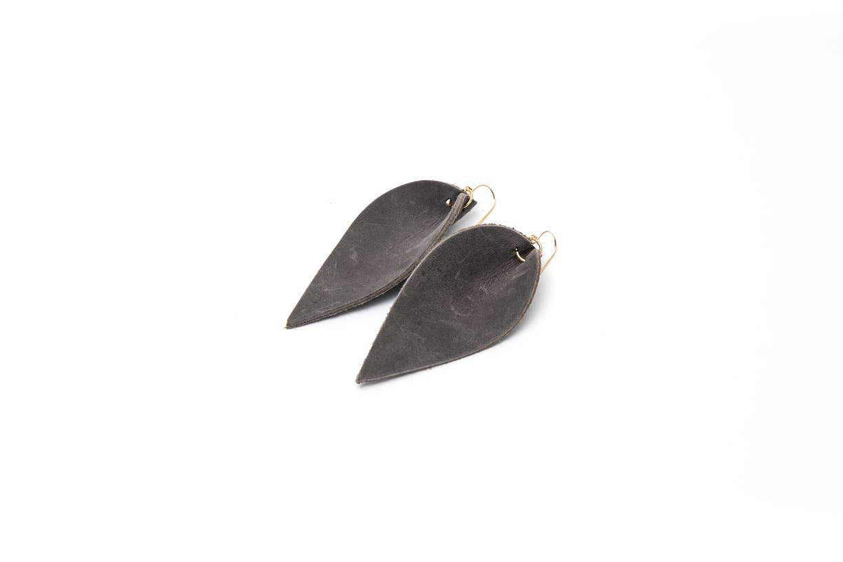 Margaret Vera - Leather Leaf Earrings