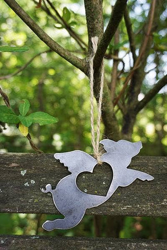 BE Creations & Designs, Inc. - Flying Pig Rustic Steel Ornament with heart