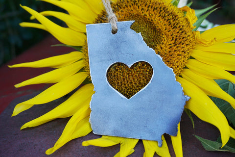 BE Creations & Designs, Inc. - Georgia State Ornament with Heart made from recycled Steel