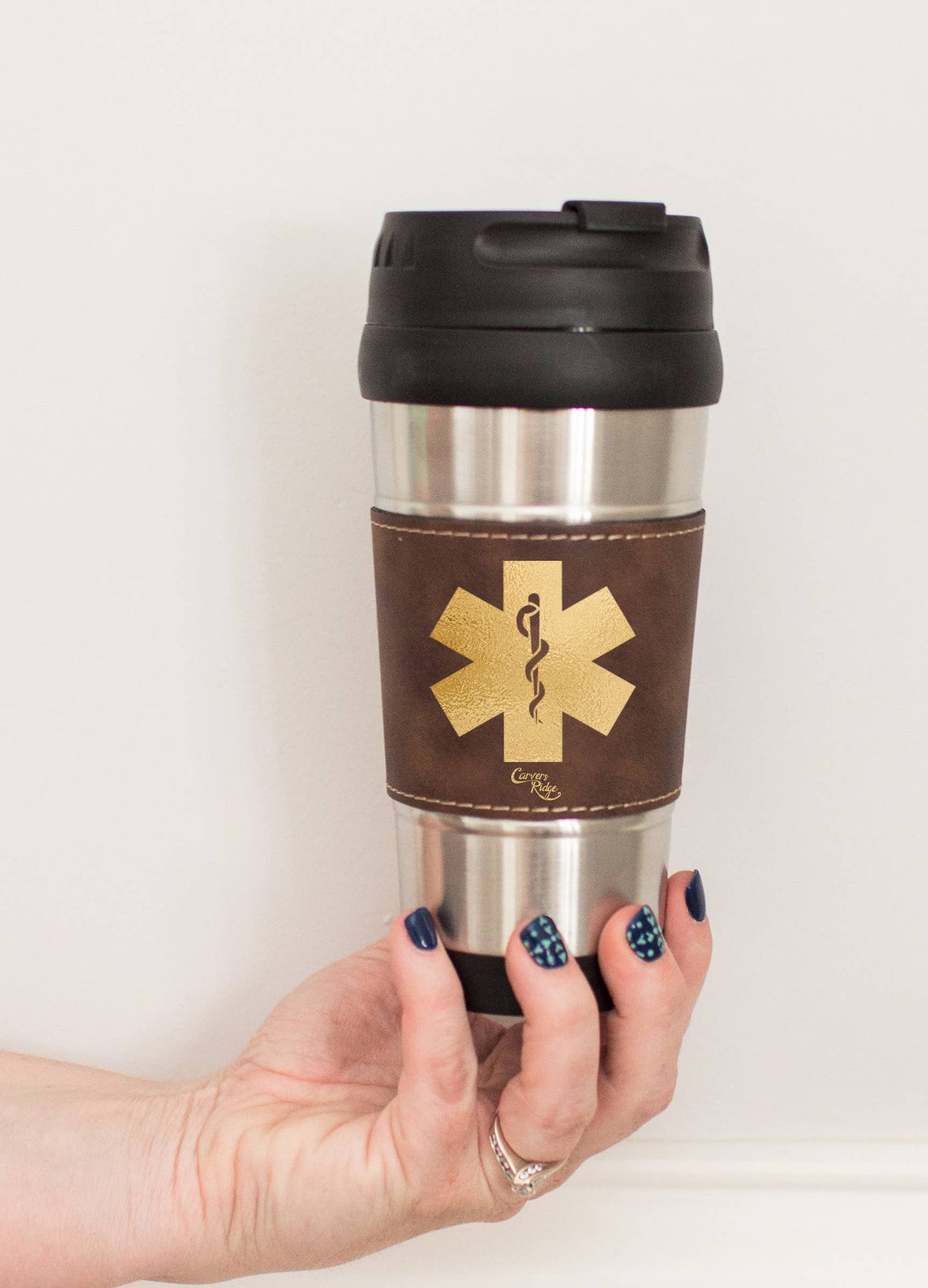 16 oz Leather Wrap Travel Mug - EMS