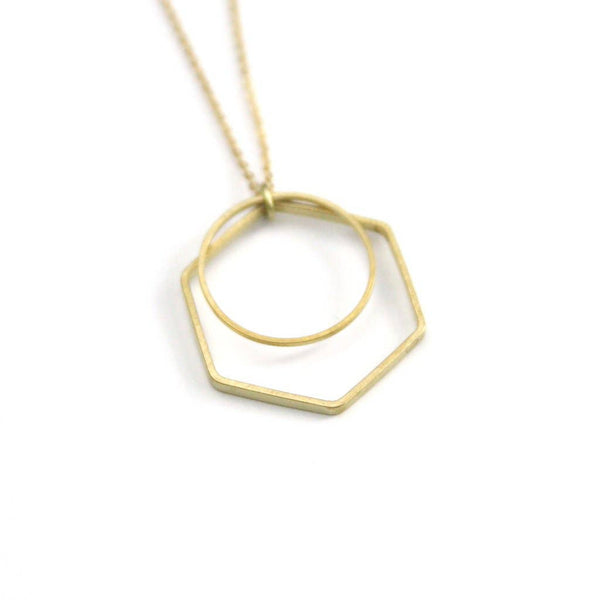 Peachtree Lane - Geometric Layer - Brass Stamped Necklace