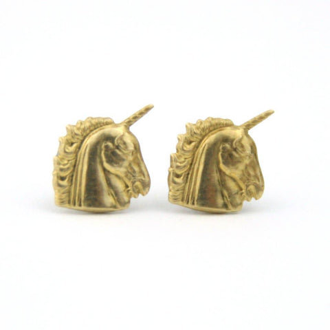 Peachtree Lane - Unicorn - Brass Earrings