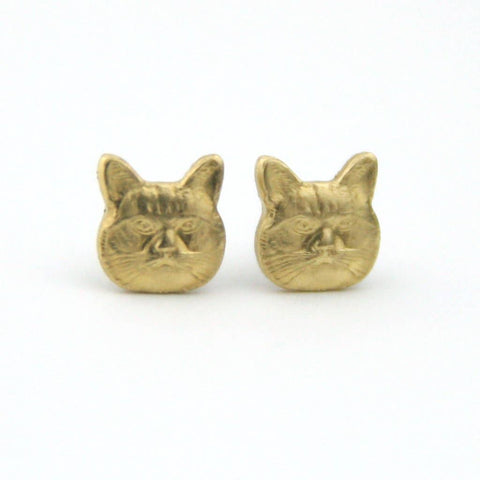 Cat Brass Earrings