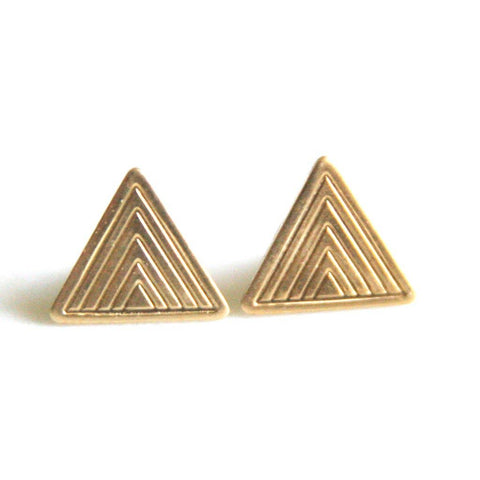 Peachtree Lane - Art Deco - Brass Earrings