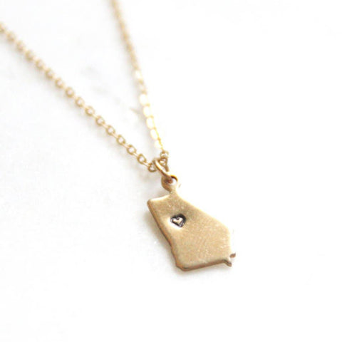 Georgia State Heart Necklace