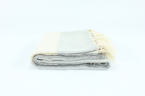 Premium Turkish Diamond Pattern Towel Throw Blanket - Light Gray