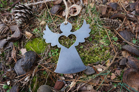 Angel Christmas Ornament with heart from Recycled Raw Steel