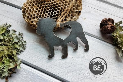 BE Creations & Designs, Inc. - Bull Dog Ornament with heart made from recycled steel