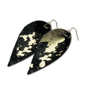 Margaret Vera - Black and Gold Washed Calf Hair Leaf Earrings