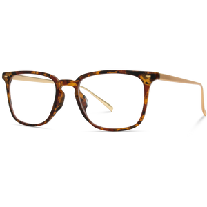 Alex - Square Modern Metal Frame Blue Light Blocking Glasses | Lava Tortoise