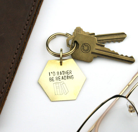 I'd Rather be Reading - Stamped Keychain