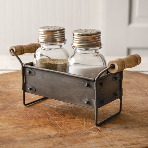Metal Crate Salt and Pepper Caddy