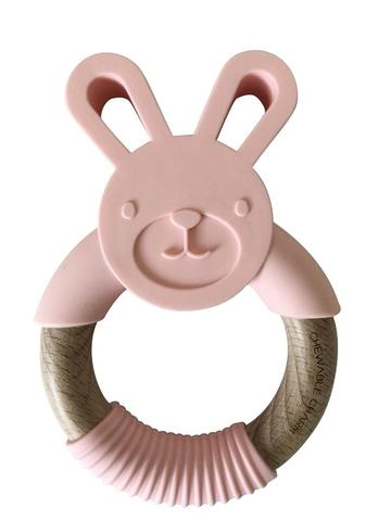 Chewable Charm - Bunny Silicone + Wood Teether - Peony Pink