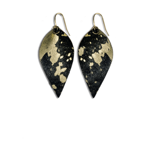 Mini Black and Gold Washed Leaf Earrings