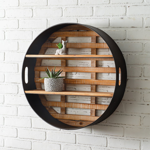 Round Wood and Metal Wall Shelf Display