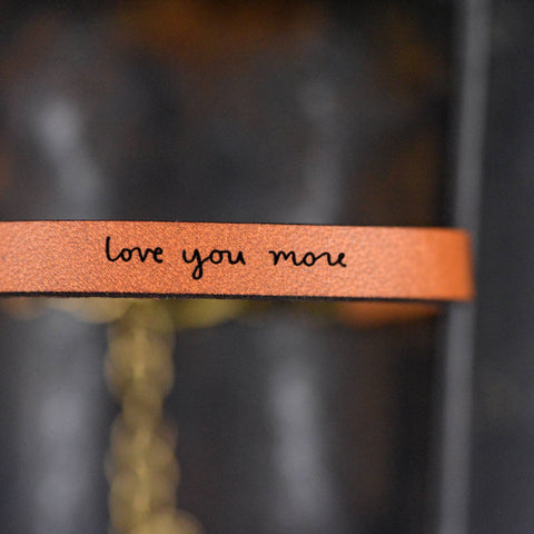 Love you more - Leather Bracelet Jewelry - Grey Slate Leather