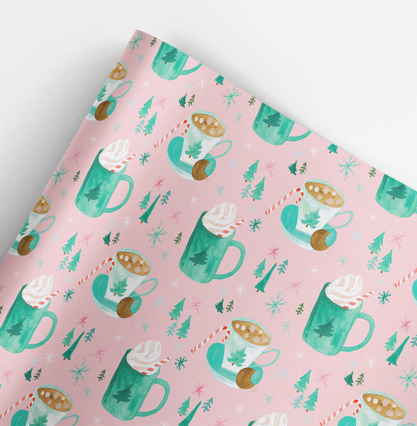 Cozy Drinks Christmas Gift Wrap Roll
