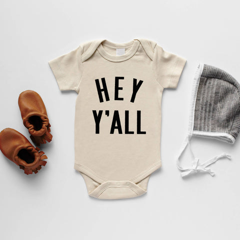 Cream Hey Y'all Organic Baby Bodysuit