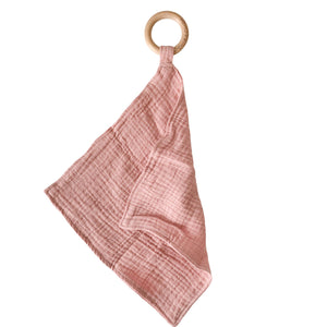 Chewable Charm - Muslin Teething Ring- Blush
