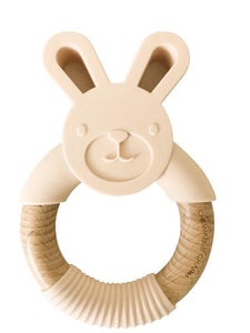 Chewable Charm - Bunny Silicone + Wood Teether- Ballet Slippers