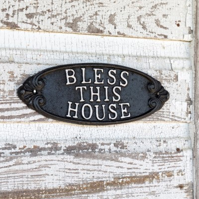 Cast Iron Bless this House Plauqe