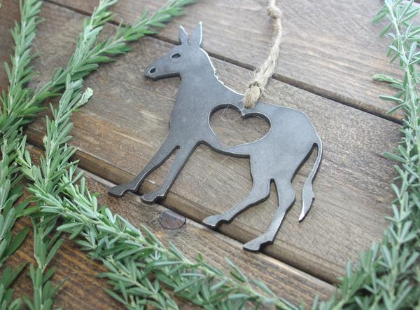 Donkey Christmas Ornament with Heart