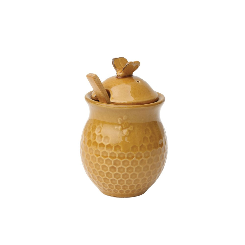 Ceramic Honeycomb Honey Jar w/ Wood Honey Dipper, Gold Finish