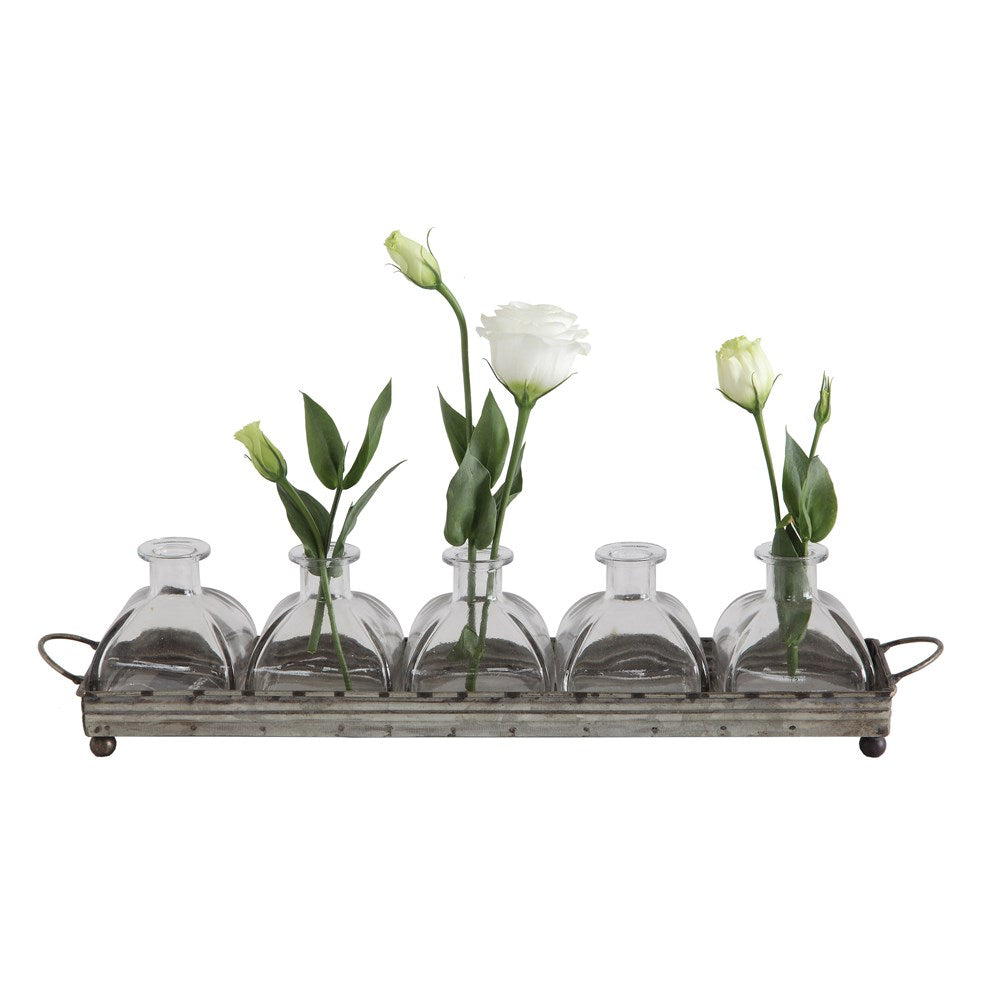 "16""L x 3-1/2""H Decorative Metal Tray w/ 5 Glass Vases, Set of 6"