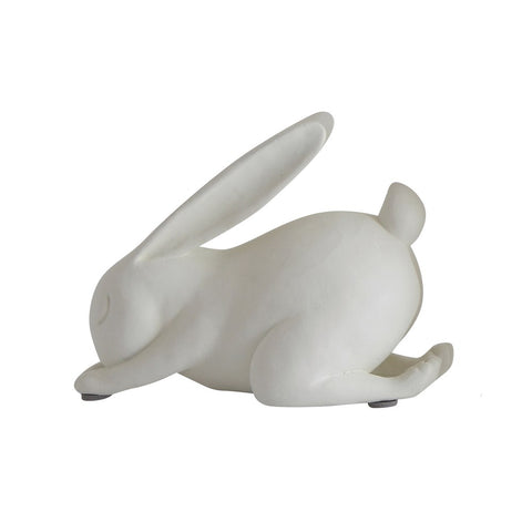 Resin Child's Pose Yoga Rabbit | White