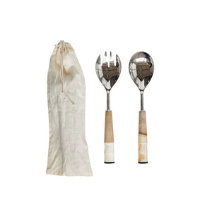 Wood & Horn Salad Servers in Drawstring Bag, Set of 2